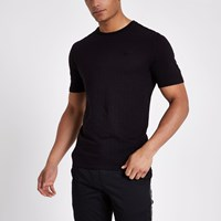 River Island Black Waffle Slim Fit Short Sleeve T Shirt