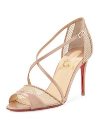 Christian Louboutin Slikova Strappy Red Sole Sandal Nude