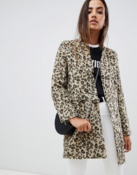 Missguided Formal Tailored Coat In Leopard Multi