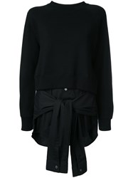 Miharayasuhiro Layered Tied Detail Sweatshirt Black