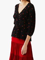 Ghost Courtney Cherry Print Top Black Red
