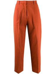Ymc High Waisted Cropped Trousers Orange