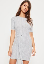 Missguided Grey Tie Side Ribbed Bodycon Dress