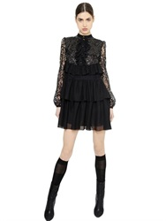 Francesco Scognamiglio Sequined Lace And Silk Chiffon Dress