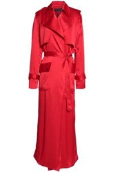 Michael Lo Sordo Belted Silk Satin Trench Coat Red