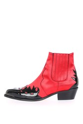 Topshop Arson Western Ankle Boots Red