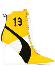 Puma Stiletto Lace Up Boots Yellow Orange