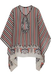 Etro Tasseled Cutout Striped Silk Chiffon Top Red