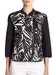 Lafayette 148 New York Printed Asymmetrical Zip Jacket White Multi