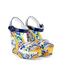 Dolce And Gabbana Floral Print Patent Leather Wedge Sandals Multi Coloured