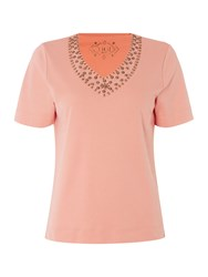Tigi Short Sleeve V Neck Jersey Top Orange