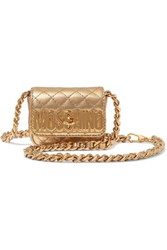 Moschino Metallic Quilted Leather Shoulder Bag Gold