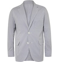 Beams Plus Blue Striped Coolmax Seersucker Blazer Navy