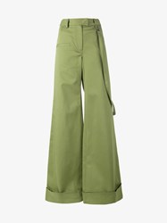Rosie Assoulin Cotton Blend Wide Leg Trousers Green Denim White