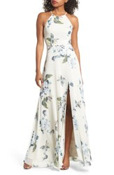 Jenny Yoo Collection Kayla Ohana Print Gown Soft Sage Blue Multi
