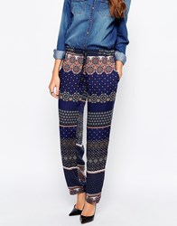 Mela Loves London Tile Print Palazzo Trousers Navy