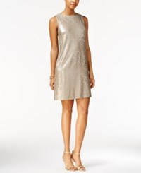 Betsey Johnson Sequined Sparkle Shift Dress Gold