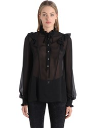 John Richmond Sheer Silk Blouse W Ruches Shirt
