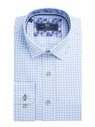 Paul Costelloe Murdock Gingham Flannel Shirt Blue