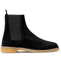 Saint Laurent Suede Chelsea Boots Black