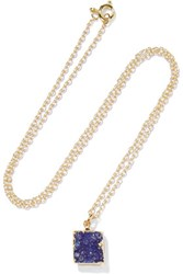 Dara Ettinger Gold Tone Stone Necklace Storm Blue