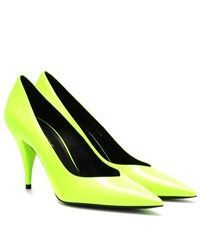 Saint Laurent Kiki 85 Patent Leather Pumps Yellow