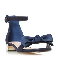 Dune Loulabelle Bow Flat Jewelled Sandals Blue
