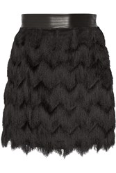 Rebecca Minkoff Humboldt Leather Trimmed Fringed Mesh Mini Skirt Black