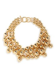 Kenneth Jay Lane Tiered Bead Chain Gold Plated Necklace Metallic