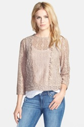 Hinge Scalloped Lace Top Beige