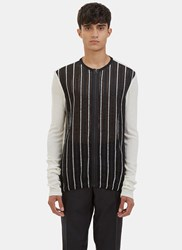Lanvin Embroidered Mesh Front Zip Up Sweater Cream