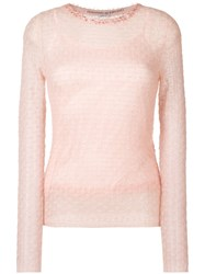 Ermanno Scervino Beaded Neck Jumper Pink And Purple