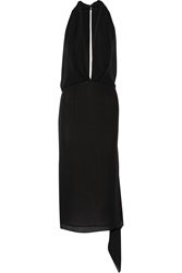 Tamara Mellon Halterneck Silk Georgette Midi Dress