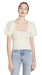 Joostricot Puff Sleeve Mohair Sweater White