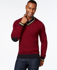 Argyle Culture Varsity Cable Knit V Neck Sweater