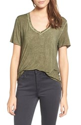 Women's Bp. Washed V Neck Tee Olive Burnt