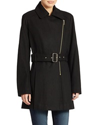 Kenneth Cole Reaction Belted Zip Front Coat Black