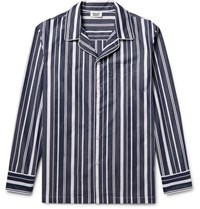 Sleepy Jones Henry Striped Cotton Pyjama Shirt Navy