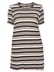 Evans Stripe Side Split Tunic Multi Coloured
