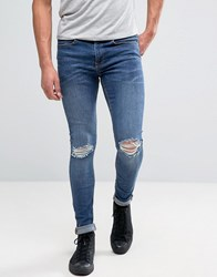 New Look Super Skinny Jeans With Rips In Mid Wash Blue Mid Blue