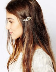 Orelia Sparkle Leaf Hair Clip Gold