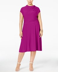 Love Squared Plus Size Tie Neck A Line Dress Berry
