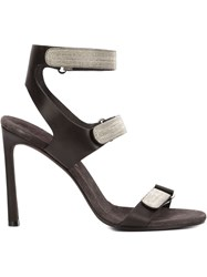 Brunello Cucinelli Velcro Strap Sandals Black