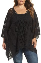 Xcvi Plus Size Women's Wearables Jace Embroidered Cotton Poncho Black