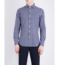 Slowear Regular Fit Checked Cotton Shirt Dk Blue