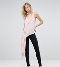 Asos Tall Asymmetric Ruffle Cami With Button Detail Blush Pink