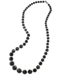 Carolee Hematite Tone Imitation Pearl And Bead Necklace Black