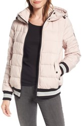Bernardo Women's Micro Touch Hooded Quilted Bomber Jacket Petal Pink