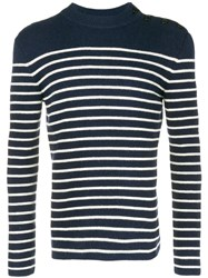Saint Laurent Striped Buttoned Jumper Blue