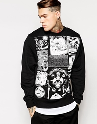 Black Scale Crew Sweatshirt With Silent Science Print